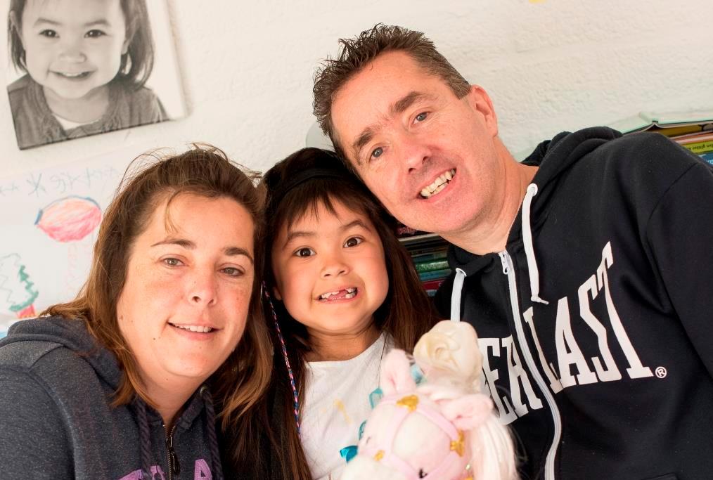 Marleen met ouders Laura en Dennis