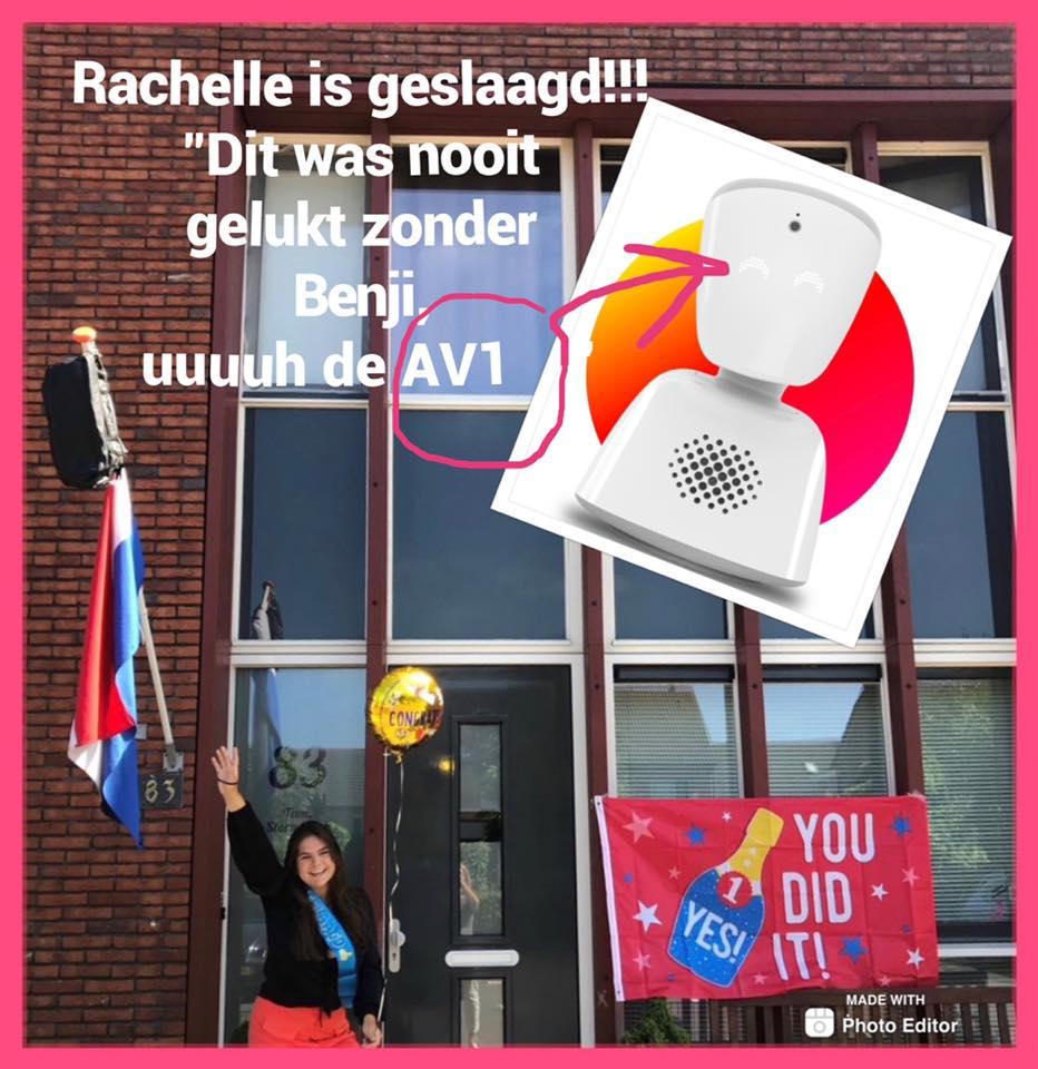 Rachelle geslaagd dankzij AV1 robot